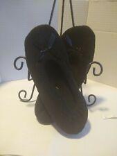 Women Black Size Large (8-9) Bedroom House Slippers, Rubber Bottoms, NWOT!!