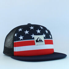 Quiksilver Mens Trucker Hat US Flag Flat Visor Baseball Golf Cap Ball Snapback