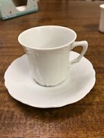 Hutschenreuther Germany Baronesse White Porcelain Embossed Coffee Cup & Saucer