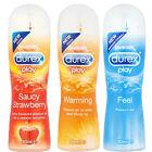 3 x Durex play lubricante, HORMIGUEO, calor, FRESA, Cereza LUBRICANTE