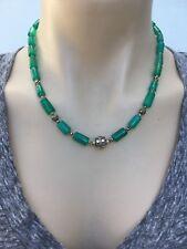 NL-160 Antique Style Handmade Tibetan Ethnic Green Onyx & White Metal Necklace