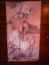 Crepe de chine long silk scarf Print of Lijiin oriental Crane among flowers NEW