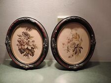 Antique Vintage 2 pair Small Oval Gesso Picture Frames Acorns Red Black 8 x 10