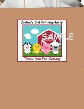 18 Personalized Barn Farm inspired Party Stickers,Birthday Labels farm animals