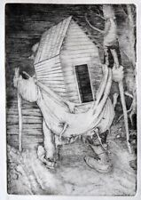 """Uprooted Home""copper engraving by Henryk Fantazos,limited edition7.3x4.5"