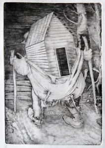 """""""Uprooted Home"""" copper engraving by Henryk Fantazos, limited edition 7.3x4.5"""