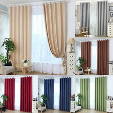 Cotton Linen Blackout Shading Window Curtains for Living Room Bedroom