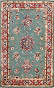 Vegetable Dye Super Kazak Geometric Oriental Area Rug Wool Hand-knotted 3x5 ft