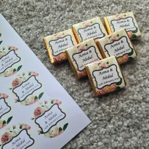 Personalised Wedding Round stickers and Chocolate Squares Mehndi Gift Favours