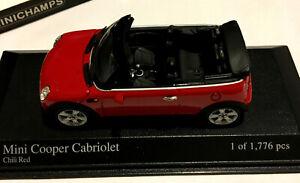 MINI COOPER CABRIOLET 2004 MINICHAMPS 431138230 1/43 SCALE RED