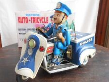 USED Nomura Toy Police bike large tin toy Auto-Tricycle with box From JAPAN F/S