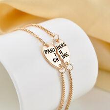 2pcs/Set Chic Heart Best Friend BFF Chain Anklet Bracelet Partners in Crime Gift