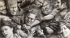 """Sons of Anarchy Fight Scene Massive ART CHARCOAL DRAWING 20X36"""""""