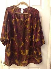 JMS 3X Plus 22W/24W Purple/Gold/Brrown Floral Print Semi-Sheer Blouse Top