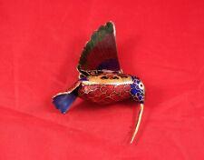 "Awesome 3"" Brass Enameled Hummingbird Ornament or Window Hangar"