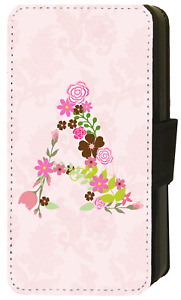 Personalised INITIALS iPhone PINK FLORAL LETTER Wallet Flip Phone Case Galaxy