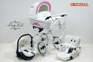 SCARLETT Wicker Pram Baby Fashion 3in1 STROLLER CARRYCOT + STROLLER + CAR SEAT