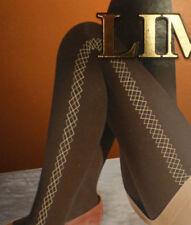 3x Strumpfhose 36 38 Stretch Stylisch winter Rautenmuster schwarz Muster 100 DEN