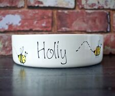 Small dog bowl cat bowl hand painted personalised ceramic bee design dish feeder