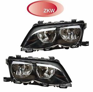 For BMW E46 Pair Set of Left & Right Black Trim Headlights Assemblies ZKW OEM