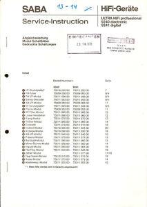 SABA Service Instruction Ultra HiFi professional 9240 Technische Daten Funktion
