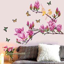 Huge Magnolia Flower Tree & Butterfly Birds Wall Stickers Art Decal Wallpaper