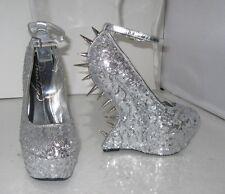 "Privileged silver  6.5""high Wedges heel 2"" platform  ankle strap shoes Size  5.5"