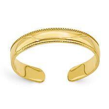 14 KT Yellow Gold Band Milgrain TOE Ring Adjustable NEW Thin Lightweight