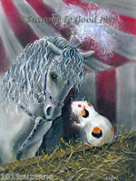 LARGE GUINEA PIG & CIRCUS HORSE PAINTING PRINT FROM ORIGINAL BY SUZANNE LE GOOD