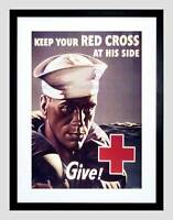 ADVERT CHARITY RED CROSS DONATION SAILOR BLACK FRAMED ART PRINT PICTURE B12X6700