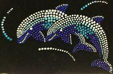 "HOTFIX RHINESTONE HEAT TRANSFER IRON ON ""Blue Dolphin with sea"""