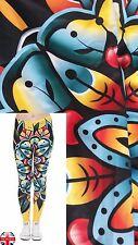 Ladies Super Soft Fabric Matte Yellow Mandala Leggings Trousers UK 8-12
