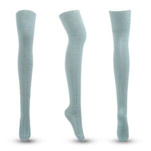 Womens High Socks Over Knee Stocking Boot Thigh Leg Solid Warmer Long Socks