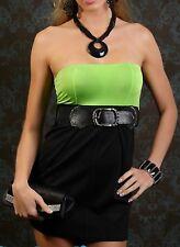 SeXy Miss Damen Pencil Girly Dress Bandeau Mini Kleid Gürtel XS/S schwarz grün