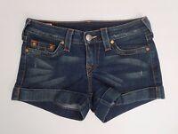 True Religion Womens Allie Denim Shorts Size 28 Cuffed Dark Wash