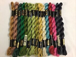 DMC Perle Cotton 3 Floss Thread Lot 15 Skeins Assorted Colors