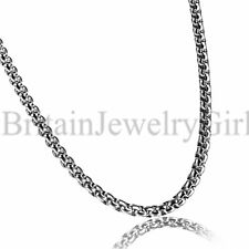 "22"" Men Stainless Steel Rolo Curb Cable Beads Box Chain Necklace for Pendant*4MM"