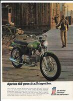 Green 1970 Harley-Davidson 350CC Sprint SS Motorcycle Ad