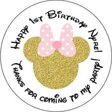12 Minnie Mouse gold stickers Birthday Party 2.5 Inch Personalized glitter