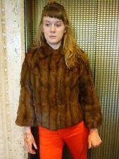 Vintage 1940s Cropped Fur Coat Jacket Sz M Natural Marten / Mink