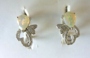 NATURAL 5 X 7 mm. MULTI COLOUR OPAL & WHITE CZ STERLING 925 SILVER EARRINGS