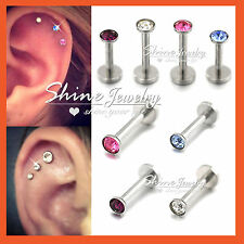Titanium Gem Labret Monroe Lip Tragus Nose Ear Earrings Piercing Ring Bar Stud