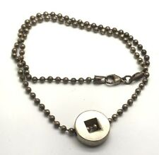 Vintage Oxidized Sterling Silver Ball - Beaded Engravable Choker Chain Necklace