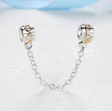 Romantic Hearts Golden Silver Safety Chain fits European Charm Bracelets