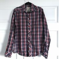 SCOTCH & SODA Mens Long Sleeve Plaid Red Blue Pearl Snap Front Shirt Large