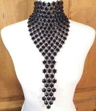 AMAZING COURREGES SIGNED BLACK ONYX COLORED RESIN DIAMANTE  DROP RUNWAY NECKLACE