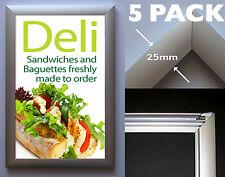Snap Frame x5 Pack: A4 Aluminium - Poster Click Frame Display