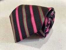 Brooks Brothers Men's Black Pink Multicolor Stripe Silk Neck Tie $125