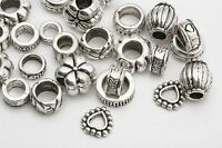 Lots Mixed 35pcs Tibetan Silver Big Hole Beads For Charms Bracelet European HN