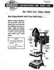 "1953 Atlas Model 9325  Workshop Series 11-3/4"" Bench Drill Press  Instructions"